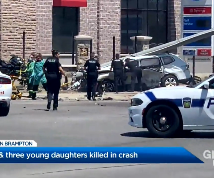 A 37-year-old Caledon woman and her three young daughters are dead after the SUV they were travelling in was involved in a crash with an Infiniti car. Ontario's police watchdog and Peel Regional Police are investigating the circumstances leading up to the crash. Sean O'Shea reports.
