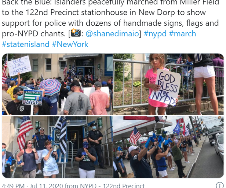 Back the Blue: Islanders peacefully marched from Miller Field to the 122nd Precinct stationhouse in New Dorp to show support for police with dozens of handmade signs, flags and pro-NYPD chants.