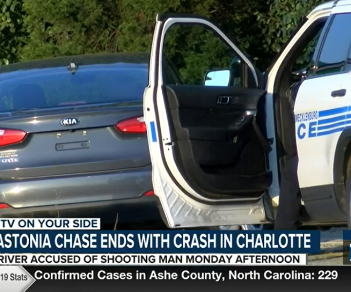 Gastonia chase ends with crash in Charlotte