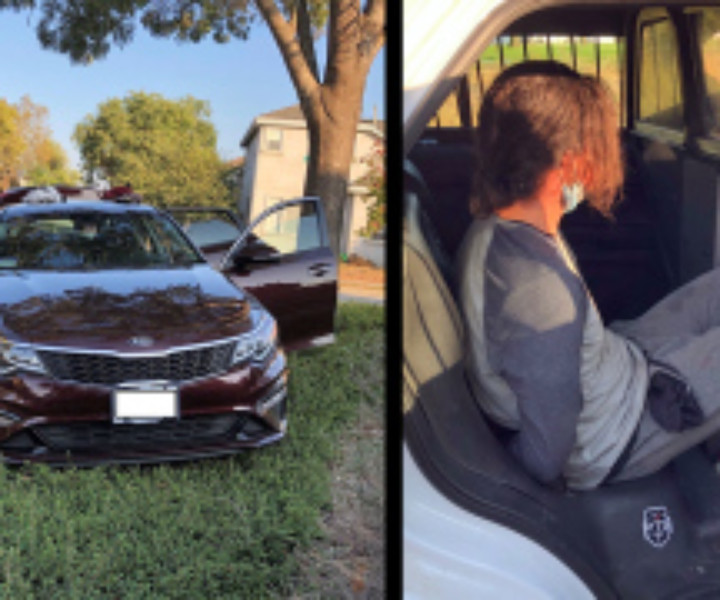 Left: stolen car seized following chase. Right: Troy Kobylinski arrested in Petaluma. (Sonoma County Sheriff's Office Photos)