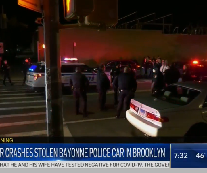A suspect is in police custody after officers say he stole a police car in New Jersey and led officers on a chase to Brooklyn. Myles Miller reports.